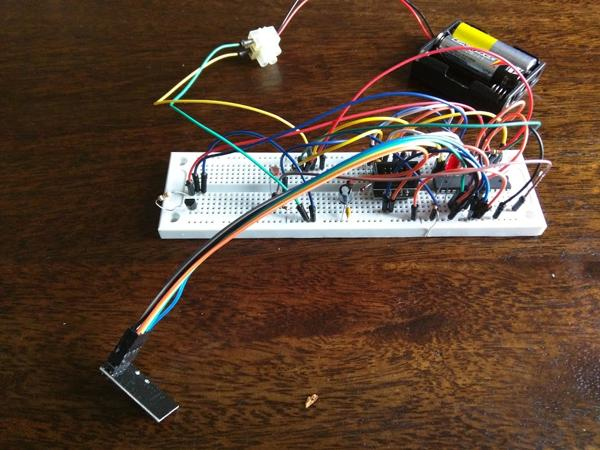 Sensor node prototype on a breadboard